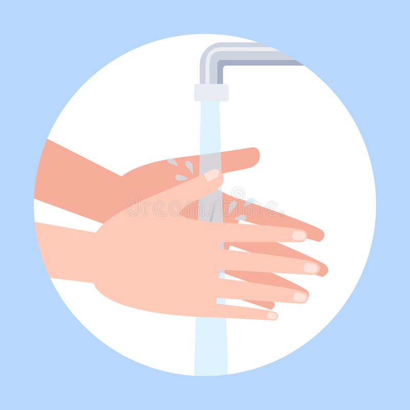 Wash hand with soap. Washing dirty hands stock illustration