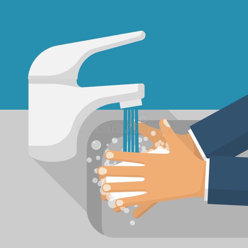 Wash hands in sink vector vector illustration