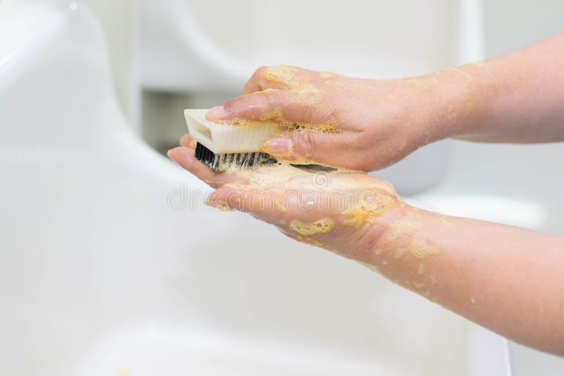 Wash hands Surgery stock image