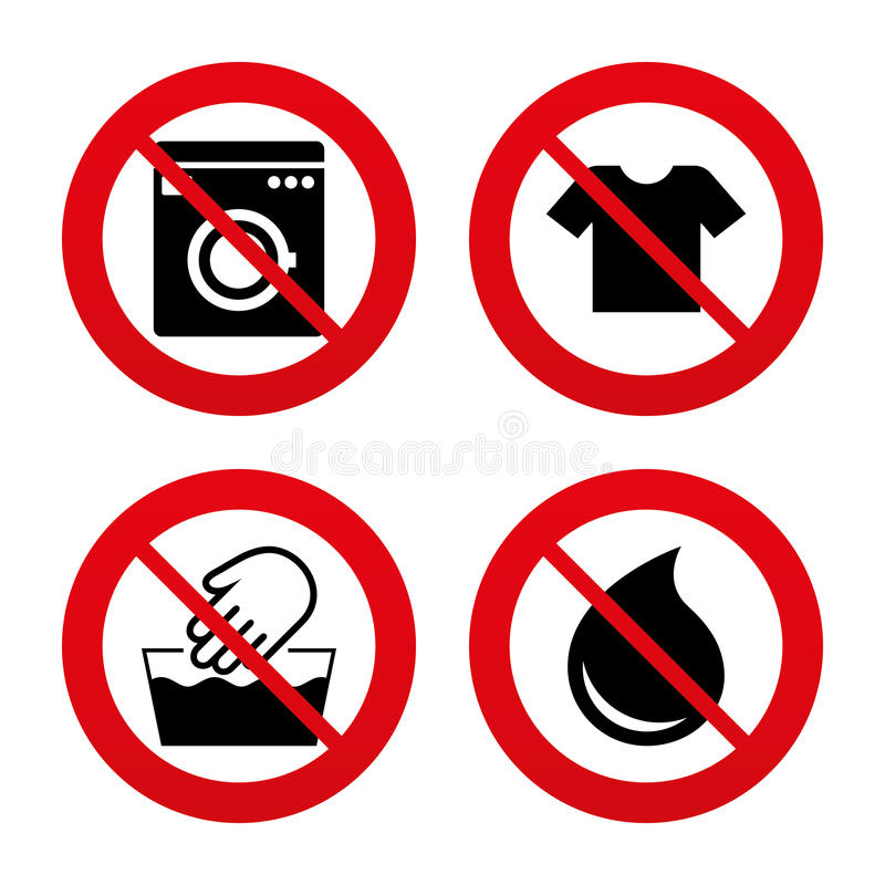 Clothes Wash Signs: Wash Icon. Not Machine Washable Symbol Stock Vector