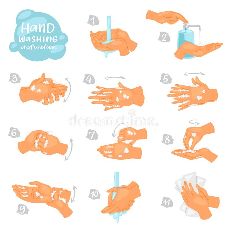 Wash räcker vektoranvisningar av tvagningen, eller lokalvårdhänder med tvål och skum i vattenillustrationantibacterial ställer in vektor illustrationer