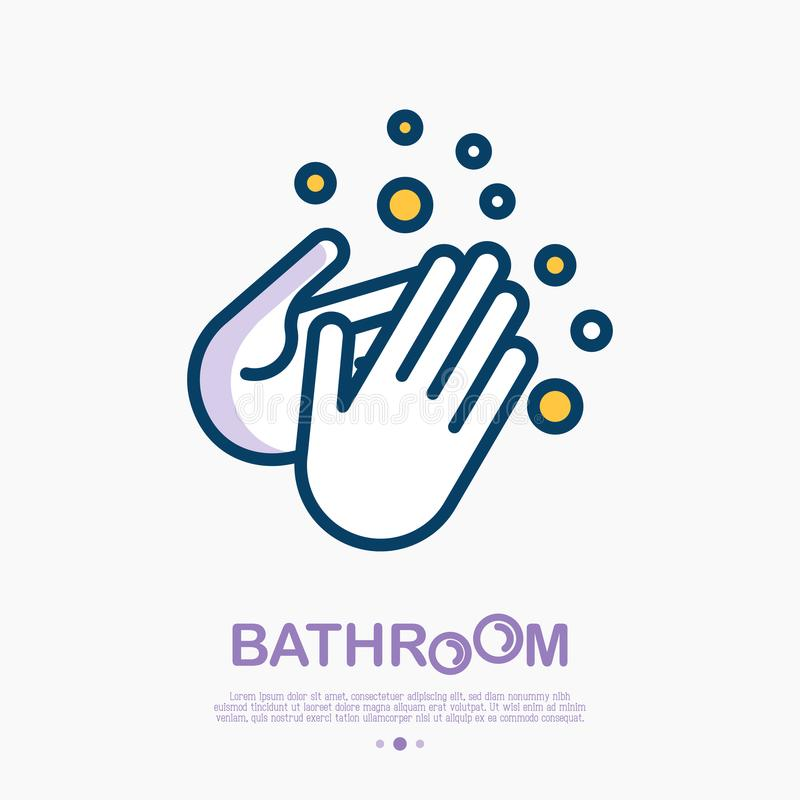 Wash your hands with soap thin line icon. Vector illustration of disinfection and hygiene for health stock illustration