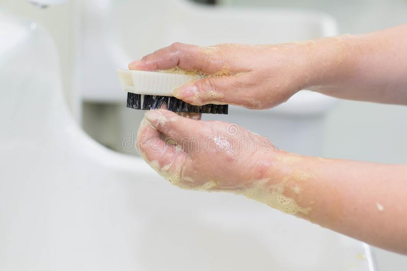 Wash hands Surgery. Wash your hands to wash off dirt. In surgery stock image