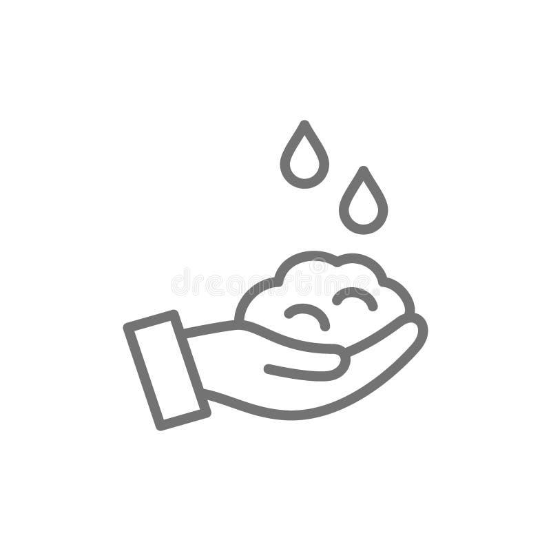 Washand met zeep, het pictogram van de hygiënelijn stock illustratie