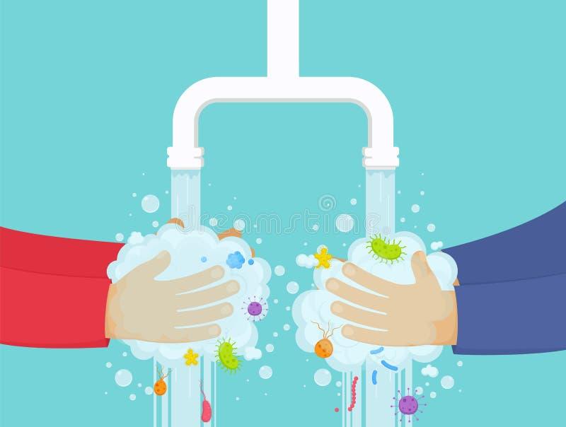 Washanden onder de tapkraan met zeep, hygiëneconcept Jongen en meisjeswas weg kiemen van handen royalty-vrije illustratie