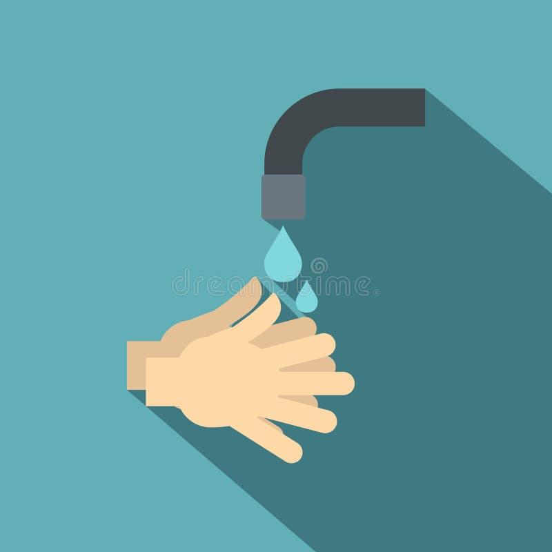 Washanden onder lopend waterpictogram, vlakke stijl stock illustratie