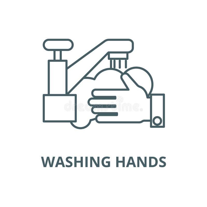 Washanden, vector de lijnpictogram van de waskraan, lineair concept, overzichtsteken, symbool vector illustratie