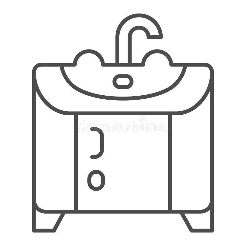 Washbasin λεπτό εικονίδιο γραμμών Κουζινών επίπλων απεικόνιση που απομονώνεται διανυσματική στο λευκό Το σχέδιο ύφους περιλήψεων  διανυσματική απεικόνιση