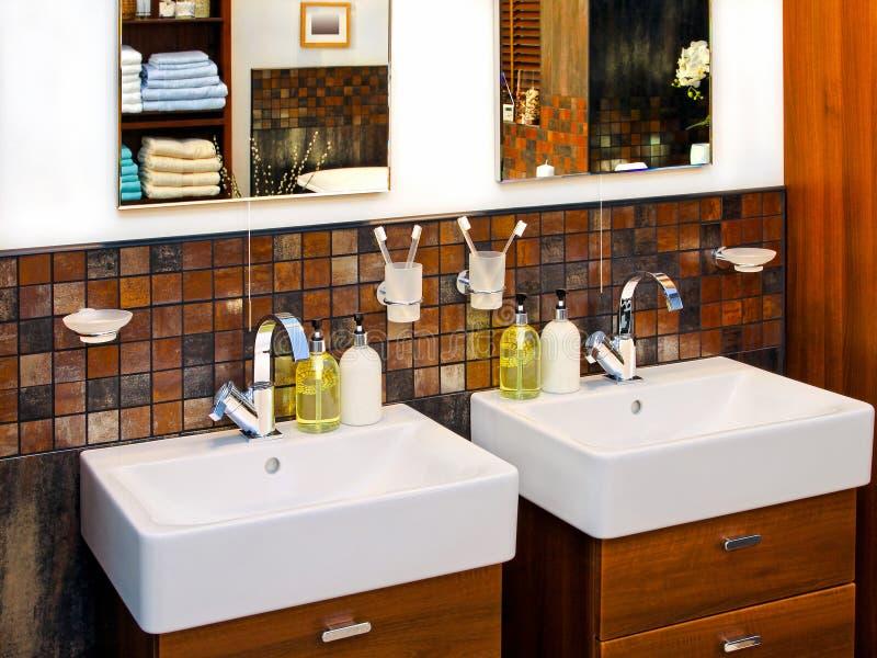 Washbasin. Double wash basin in luxury elegant bathroom royalty free stock image