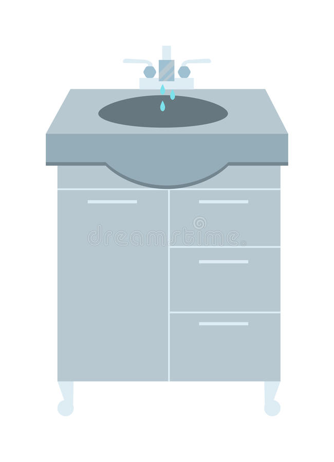 Washbasin and faucet with water drop at home bathroom interior flat vector illustration. stock illustration
