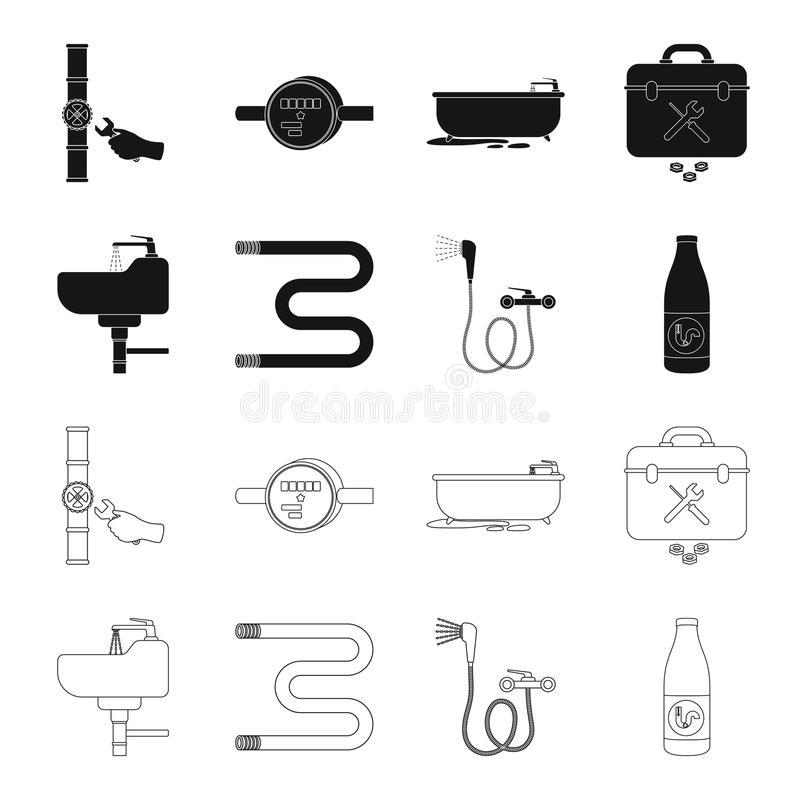Washbasin, heated towel-dryer, mixer, showers and other equipment.Plumbing set collection icons in black,outline style stock illustration