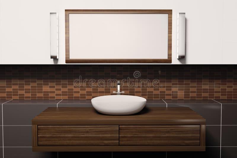 Washbasin and mirror 3d stock illustration