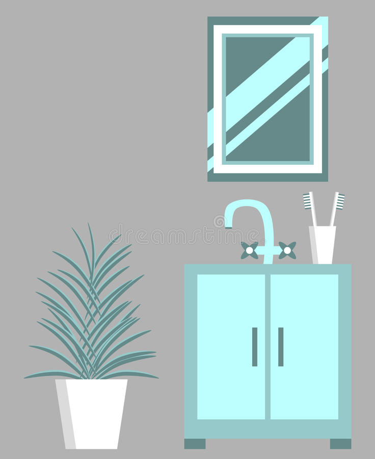 Washbasin Mirror And Flower Stock Vector - Illustration of flat ...