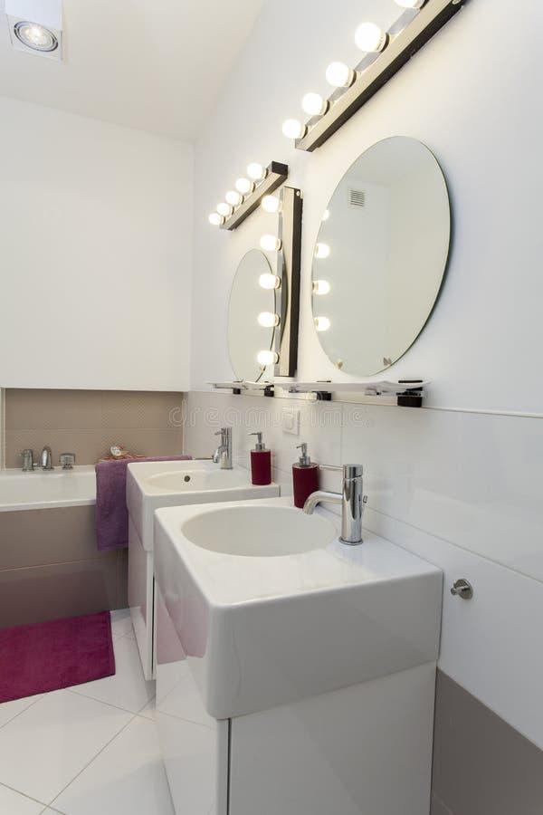 Download Washbasin and mirrors stock photo. Image of pink, furnish - 27527726