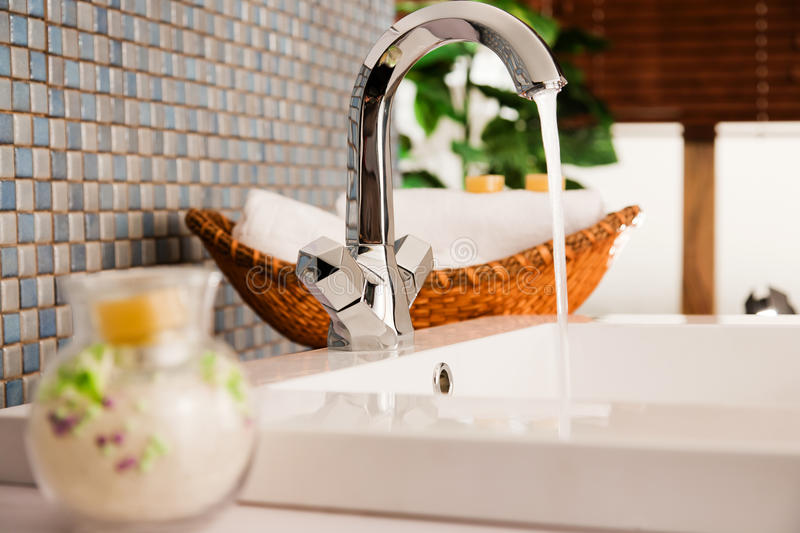 Washbasin in a modern bathroom stock images