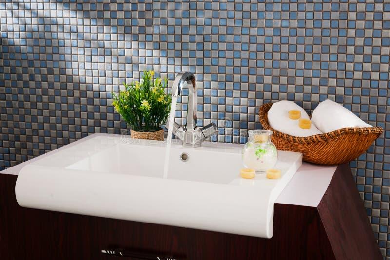 Washbasin in a modern bathroom royalty free stock photo