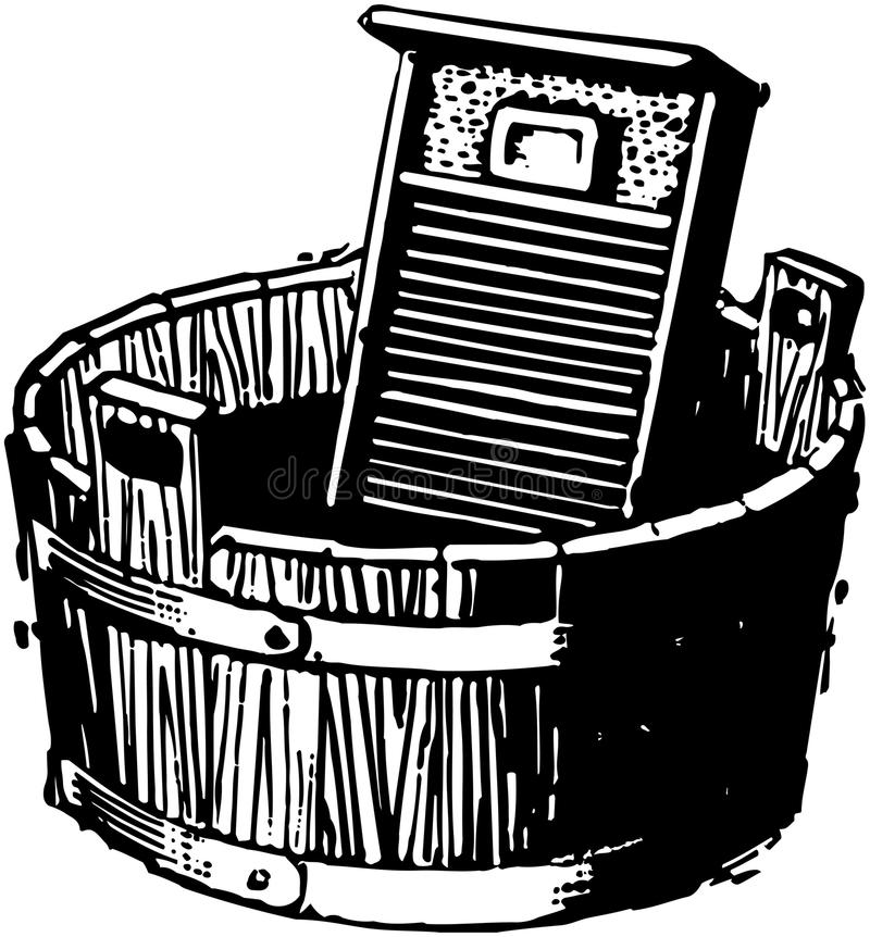 Washboard och hink stock illustrationer