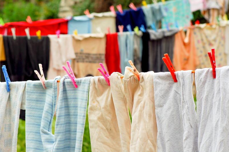 Download Washed clothes stock photo. Image of clothesline, clothespin - 27773106