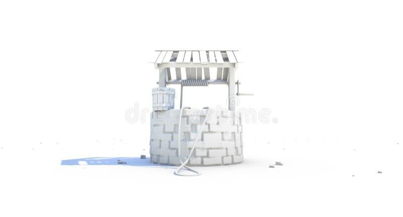 Well On Waterless Landscape vector illustration