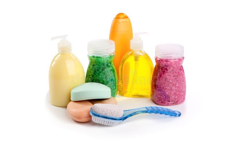 Washed shampoo salt for bathroom royalty free stock image