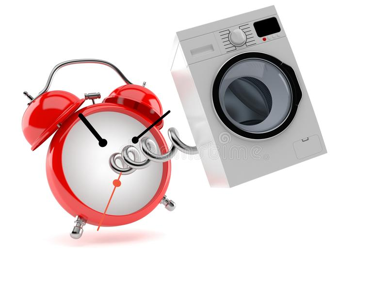 Washer with alarm clock. Isolated on white background royalty free illustration
