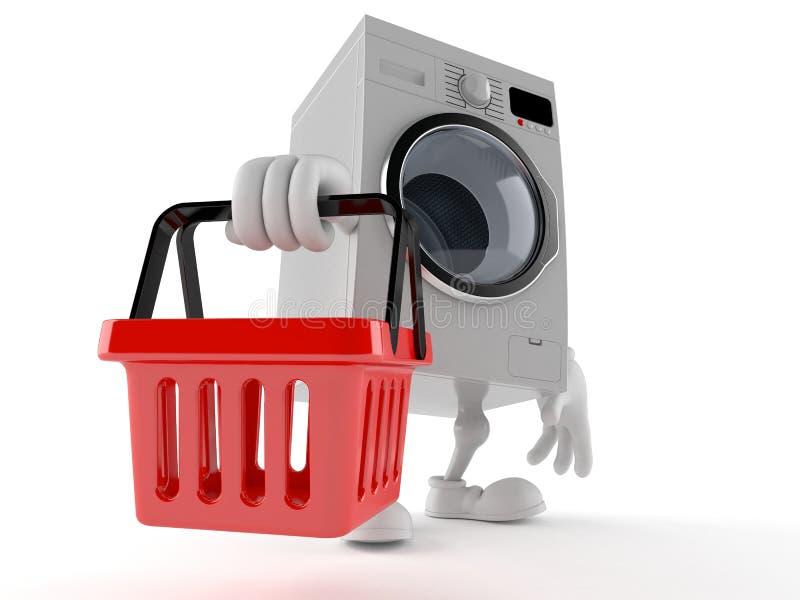Washer character holding shopping basket. Isolated on white background. 3d illustration vector illustration