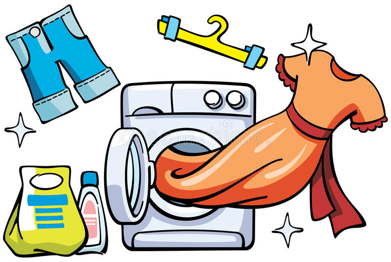Washer and clean clothes. Vector illustration with washer and clean clothes stock illustration