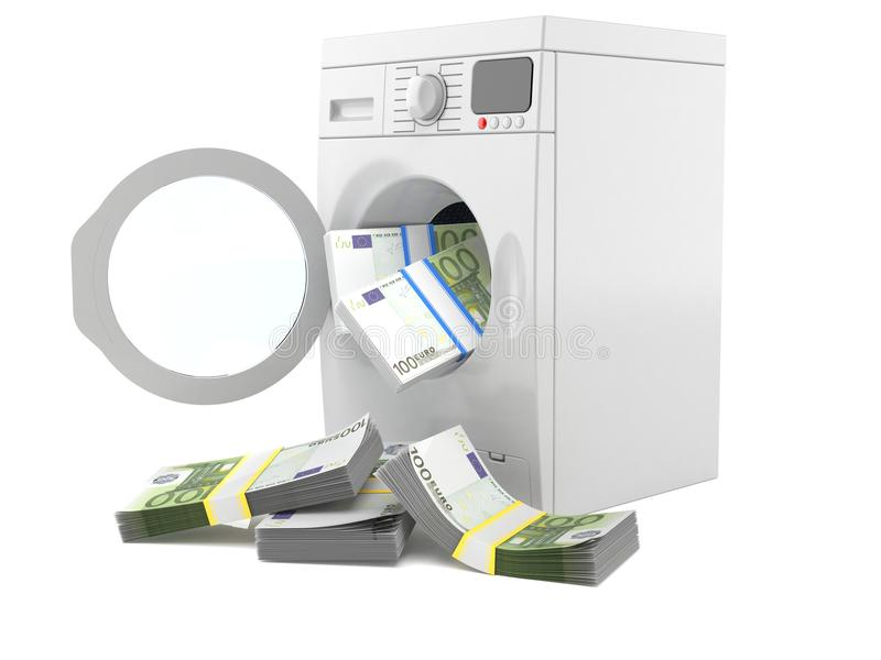 Washer with euro money. Isolated on white background royalty free illustration