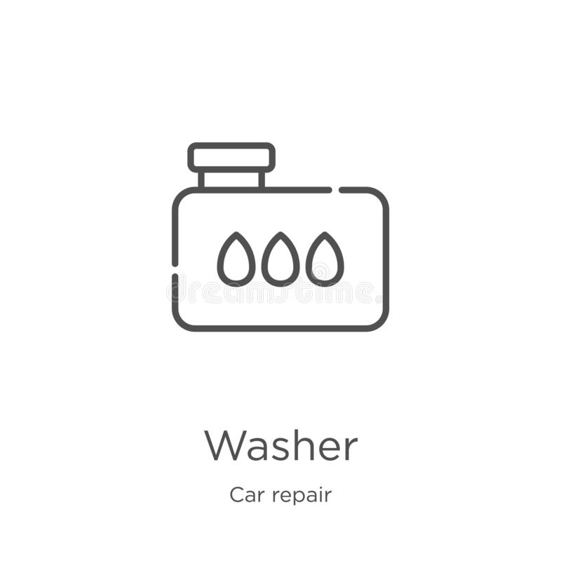 washer icon vector from car repair collection. Thin line washer outline icon vector illustration. Outline, thin line washer icon royalty free illustration