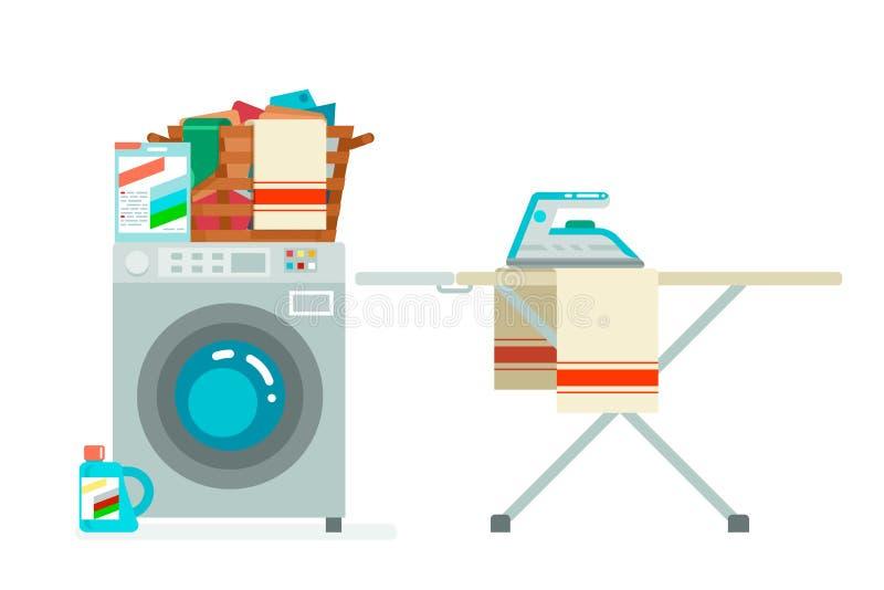 Washer laundry basket washing dirty clothes washing machine service cartoon flat design isolated on white icon vector. Washer laundry basket washing dirty vector illustration