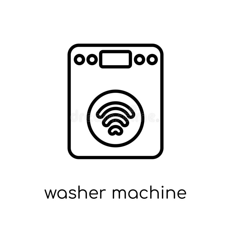 Washer machine icon. Trendy modern flat linear vector Washer mac. Hine icon on white background from thin line smart home collection, editable outline stroke vector illustration