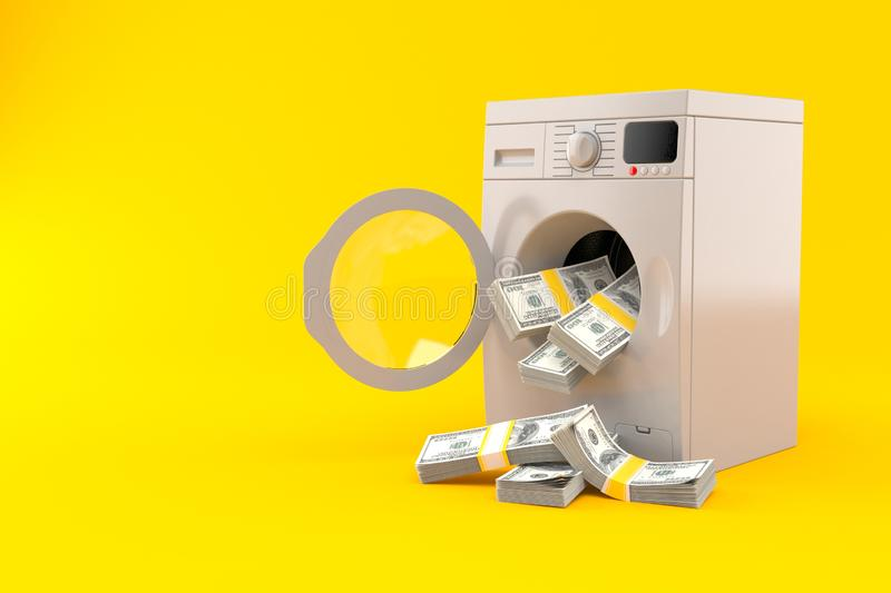 Washer with money. Isolated on orange background. 3d illustration royalty free illustration