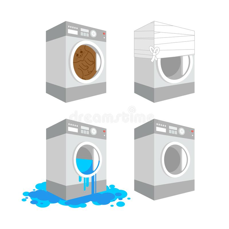 Washer set. Cat in washing machine leaking Cartoon Style. bandaged Sick Vector.  royalty free illustration