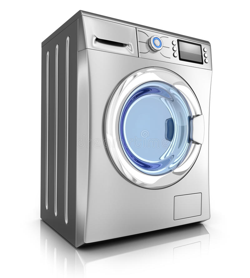Washer stell. Modern washer on white background (done in 3d stock illustration