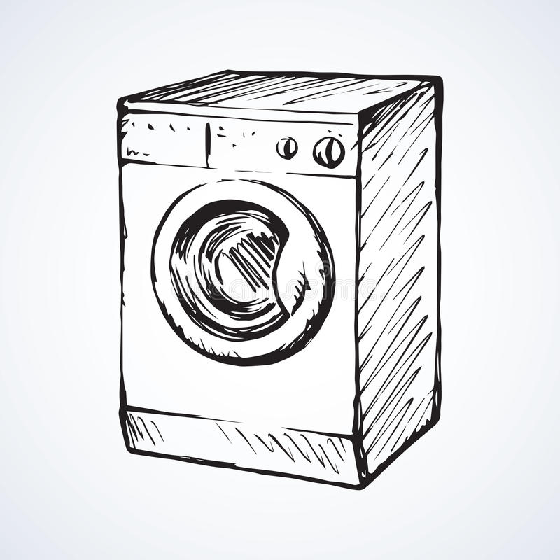 Washer. Vector drawing. New big front-loader cloth washer isolated on light grey backdrop. Freehand linear black ink hand drawn picture logo in art retro contour stock illustration
