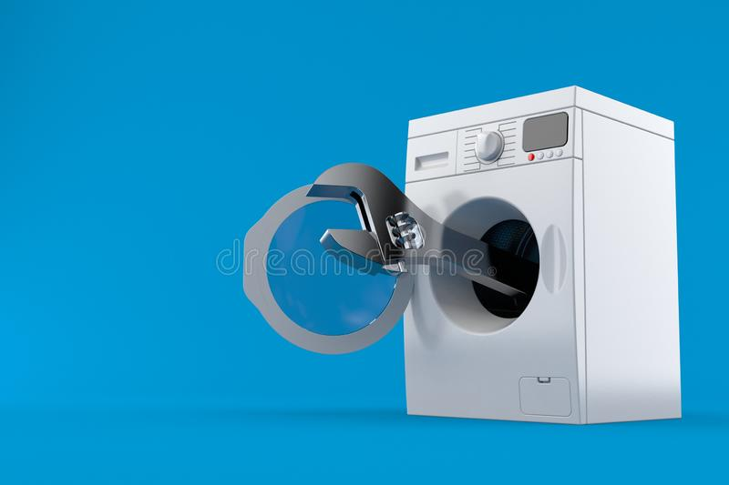 Washer with wrench. Isolated on blue background. 3d illustration stock illustration