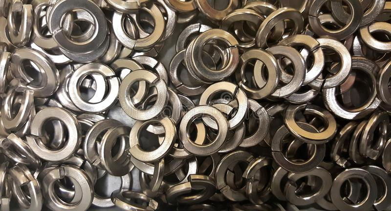 Washers. Image of washers, objects made for hardware and construction royalty free stock photo