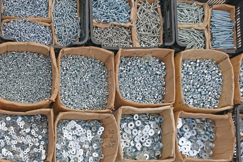 Washers and Nuts. Various Washers Nuts and Bolts in Boxes Parts stock images