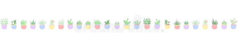 Washi-Band mit Topfpflanzen vektor abbildung