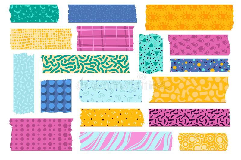Washi tape. Japanese paper tapes for photo decoration, colorful patterns scotch strips. Torn fabric border stickers. Vector kids scrapbook card set royalty free illustration