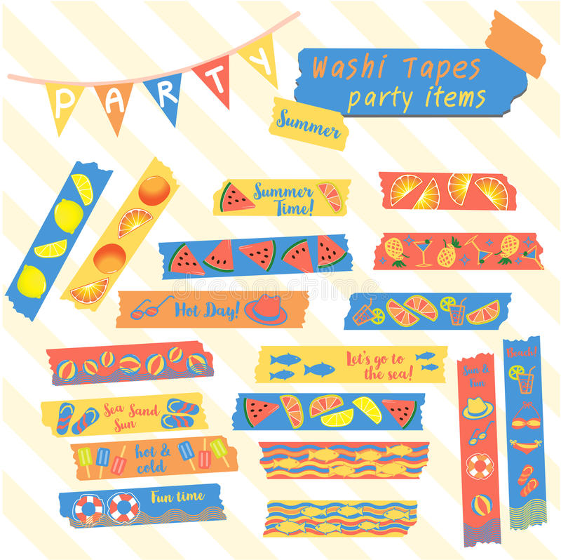 Washi tapes summer party theme vector illustration