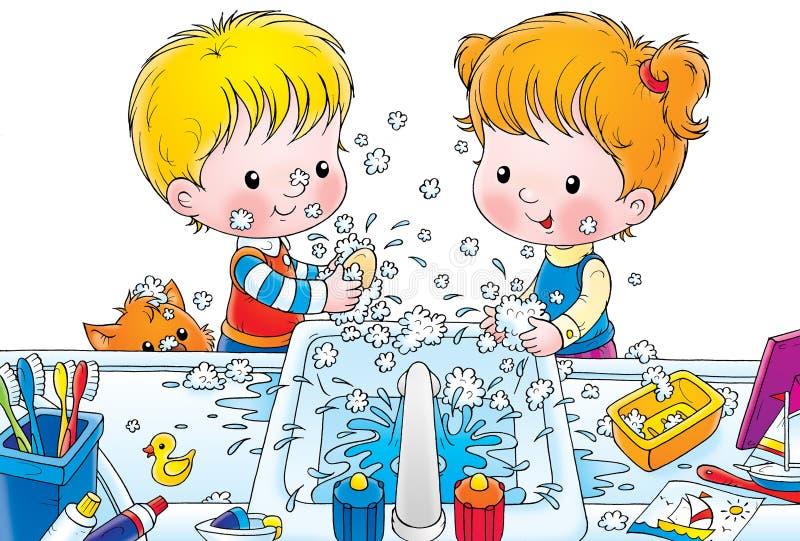 Download Washing stock illustration. Illustration of children, drawing - 2983118