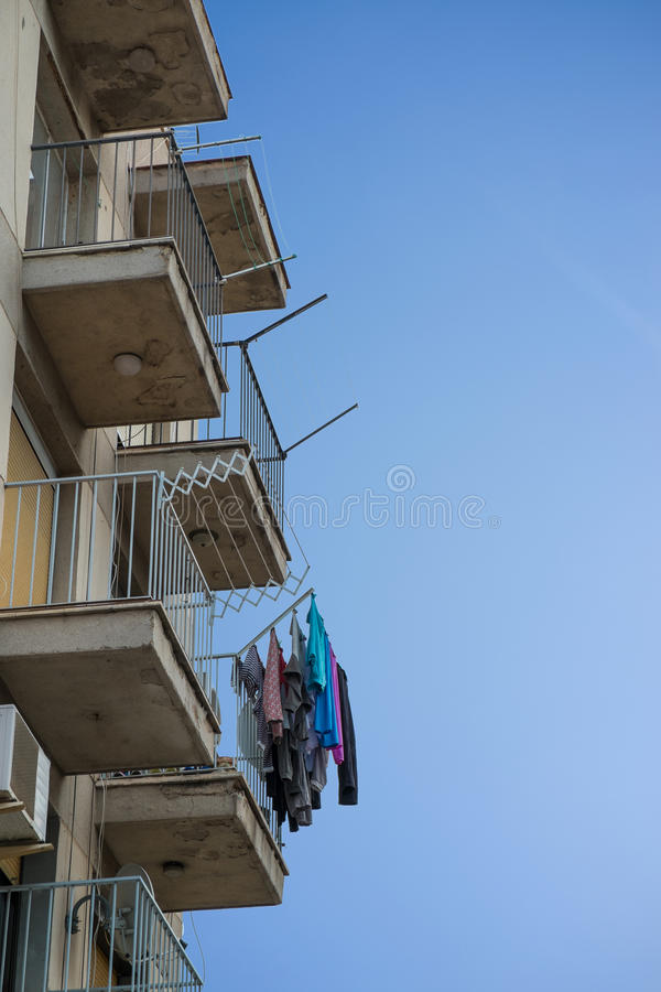 Washing on balconies stock photos