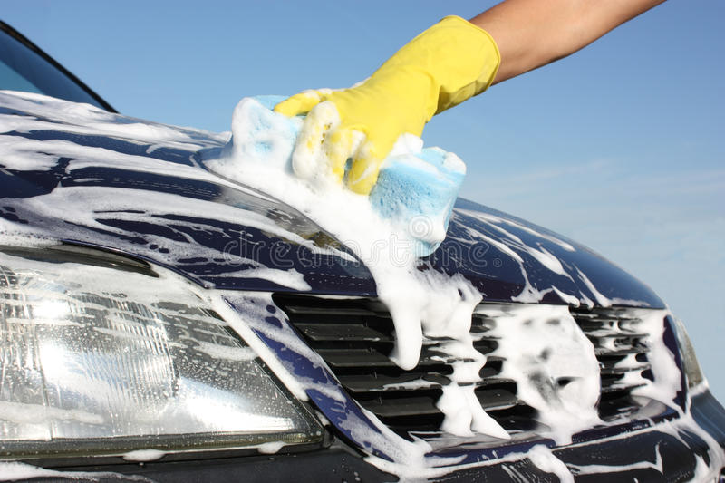 Washing a car royalty free stock photo