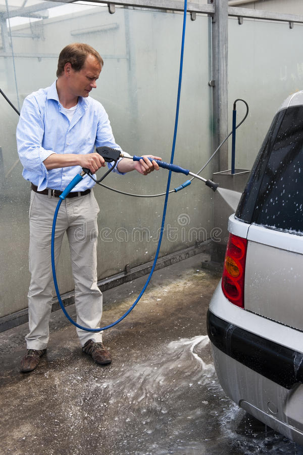 Washing a car royalty free stock photos