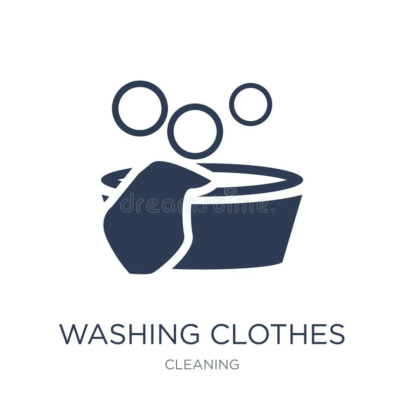Washing clothes icon. Trendy flat vector Washing clothes icon on. White background from Cleaning collection, vector illustration can be use for web and mobile royalty free illustration