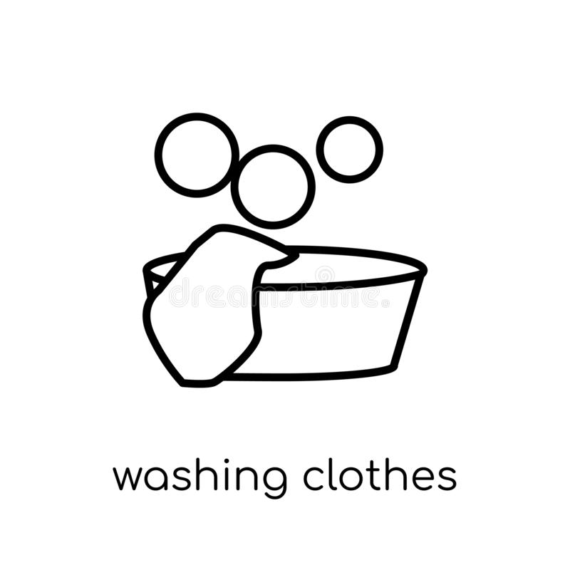 Washing clothes icon. Trendy modern flat linear vector Washing c. Lothes icon on white background from thin line Cleaning collection, editable outline stroke royalty free illustration