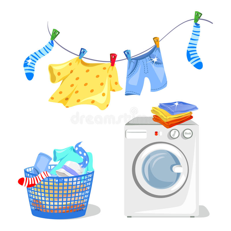 Washing clothes, washing machine. Vector illustration royalty free illustration
