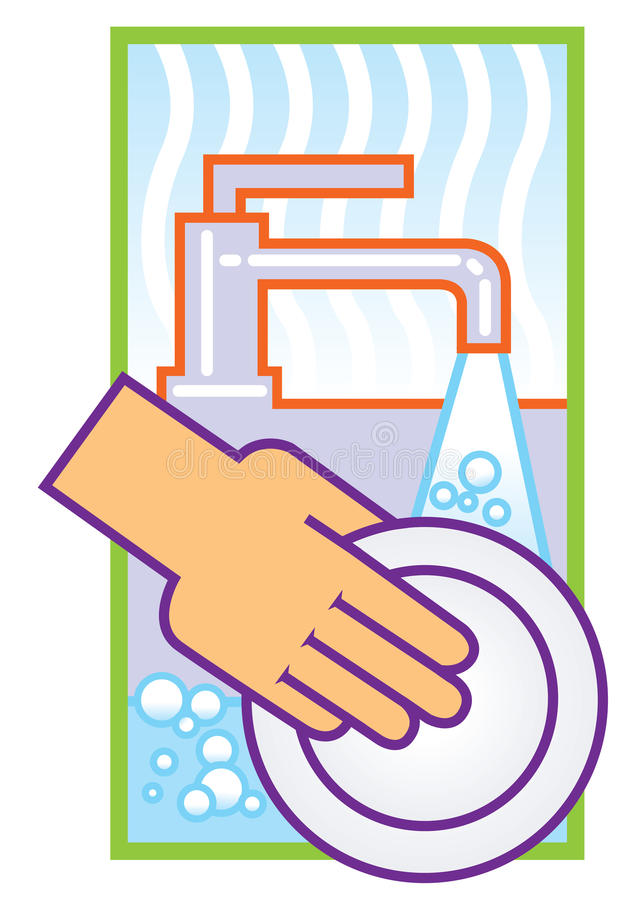 Washing dishes stock illustration