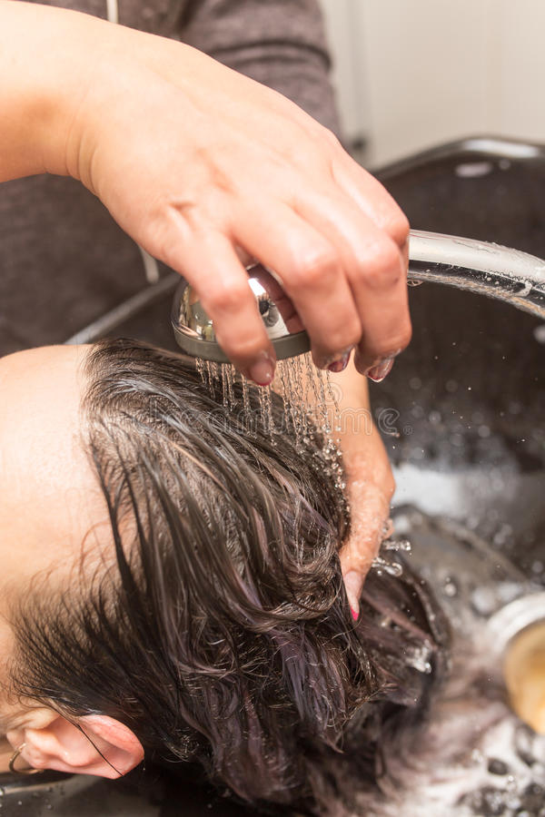 Washing of female hair stock photos
